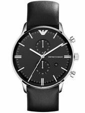 New In Box Emporio Armani AR0397 Chronograph Black Leather Men's Gents Watch