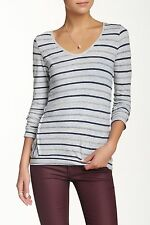 VELVET By Graham & Spencer Amina Marble Stripe Button Cuff L/S Tee Grey S $118