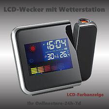 PROJEKTIONS LCD WECKER MIT FARBIGER WETTERANZEIGE UHR WETTERSTATION NEU Batterie