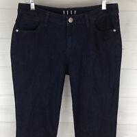 ELLE Womens Sz 8 Long Stretch Bootcut Solid Dark Blue Wash High Rise Denim Jeans