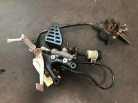 08-16 2013 Yamaha R6 YZFR6 REAR BRAKE ASSEMBLY MASTER CYLINDER PEG CALIPER  *