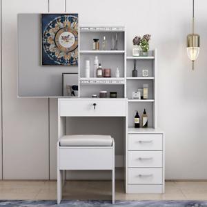 """57"""" Modern Dressing Table Stool Vanity Set Makeup Desk w/ Mirror&Drawers Bedroom"""