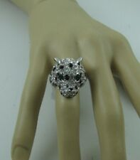 NEW Silver Tone Leopard Ring w/ Crystal Rhinestones signed JC Womens size 8