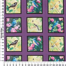 """Fruit of the Vine"" Wild Wings Panel or 24 Quilt Blocks 5"" x 5""- Birds"