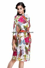 Womens Ladies Floral Print Summer Lightweight 100 Cotton Dressing Gown Robe