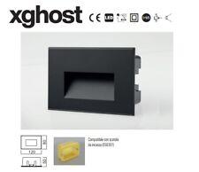 SEGNAPASSO incasso a parete applique LED 3W IP65 4000k Nero + scatola 503 230V