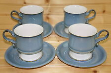 """Denby Castile Blue (4) Footed Cups, 3 1/2"""" & (4) Saucers, 6"""" (LOT#2)"""