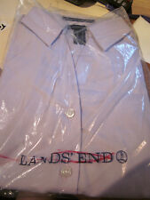 NEW! Lands End WOMENS NO IRON PINPOINT OXFORD OPEN COLLAR BLOUSE LT PURPLE 14