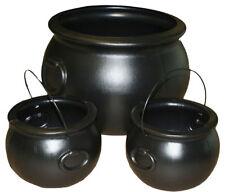 Witch Cauldron (Set Of 3 Cauldrons) Halloween Prop Decoration Plastic Brew Pot