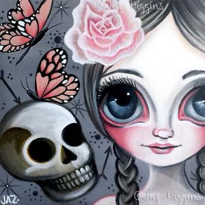 Fragile Beauty Art Print SIGNED & dated by artist Jaz Higgins Gothic Skull Girl