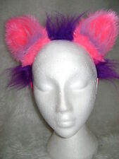The Cheshire Cat Fancy Dress Ears Bright Pink & Purple Cat Ears Costume Ears