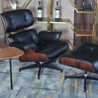 Modern Eames Chair & Ottoman 100% Top Real Leather Lounge Chair Black Color Sale