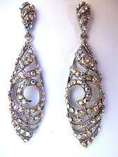 Long ab crystal earrings long wedding bride bridal pageant prom ballroom dance