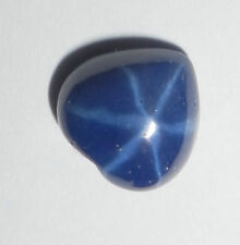 Blue Star Sapphire Heart 9 mm Flat Cabochon 6 Rayed Lab-created Opaque Stone