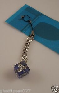 Purple club dice  cell phone or purse  charm strap