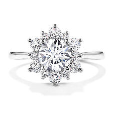 Brilliant Round 1.10Ct Diamond Engagement Ring 14K White Gold Rings