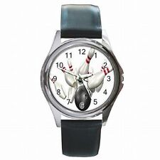 Bowling Ball and Pins Strike Bowler Leather Watch New!