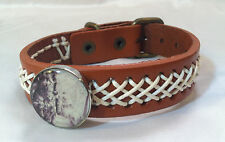 HORSE SNAP & LEATHER twine stitch BRACELET 18-20MM JUMP EVENT MONTAGE  BUBBLES!!