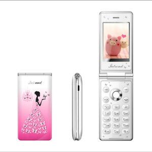 """2.4"""" Unlocked Flower Flip Mobile Phone Dual SIM Breath Light MP3 For Women Girls"""