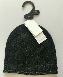 Ladies Black Marks & Spencer Hat with Cashmere One Size RRP £29.50