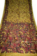 Vintage Printed Saree Yellow Pure Silk Floral Print Sari Design Craft Fabric