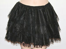Black Mini Skirt Lolita Burlesque Lace Layer Costume Saloon Frill Party 14-16 XL