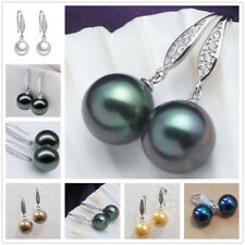 Big 12mm Genuine South Sea Shell Pearl Round Beads Dangle Hook Earrings AAA+