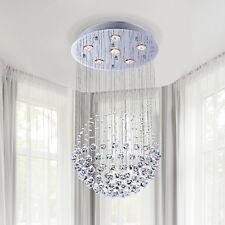 HOMCOM Crystal Lamp Chandelier Pendant 6 Light Fixture Silver Glass Hallway