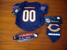 3 NEW NFL Chicago Bears Jersey Bandana Collar Dog Size SMALL Adjustable Nylon