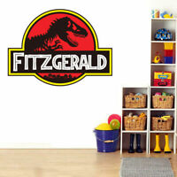 Jurassic Park Custom Personalised Name Wall Stickers Boy Nursery Decal Decor Art