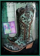 Liberty Black Boots 7.5 Turquoise  Cheetah