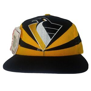 NWT Vintage 90's Pittsburgh Penguins NHL Apex One Embroidered Cap Snap Back Hat