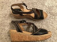 Nurture Lilithe Black Leather Sandals 7M Womens Wedge Heels Cork Platforms
