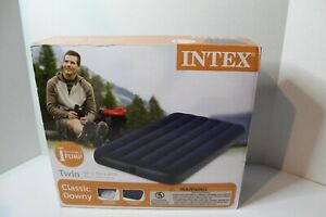 Intex Twin Size Classic Downy Inflatable Airbed Mattress Navy Blue 68757WS