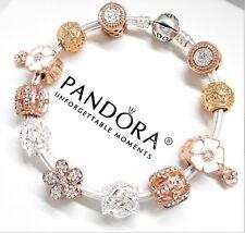 Authentic Pandora Bracelet Silver Bangle Rose Gold Flower European Charms...NIB