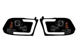 Recon Black/Smoke LED DRL Bar Halo Projector Headlights for 09-14 Dodge Ram