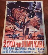 Ancienne affiche cinéma  DEUX CROIX POUR UN IMPLACABLE  1967  western spaghetti