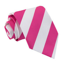 DQT Woven Striped Hot Pink White Formal Casual Mens Classic Tie
