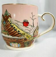 Grace Fine Ceramics Ukraine Cottage Village Scene Coffee Mug Tea Cup Pink GUC