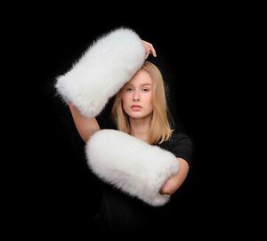 Saga Furs Arctic Snow White Fox Fur Cuffs Arms Warmers Wristbands