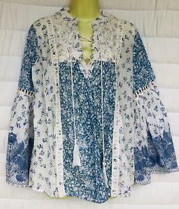 Derhy UK Long Sleeved White & Blue CottonMix Tunic Top, Size Small