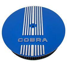 "Ford Shelby Cobra (Raised Logo) 13"" Round Air Cleaner Kit Blue - Ansen USA"