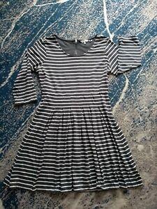 Fat Face Uk14 Ladies Grey White Stripes Cotton Dress