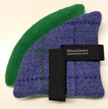 Harris Tweed équitation Chapeau Oreille Manchons Violet Turquoise polaire