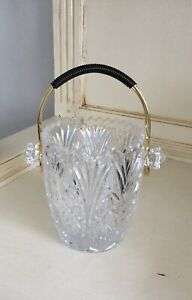 Vintage Cut Glass/Crystal? Ice Bucket With Tongs.