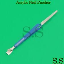 ACRYLIC NAIL PINCHER Pinching Multifunction Pedicure BLUE Cuticle Pusher Tweezer