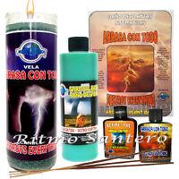 ARRASA CON TODO-DESTROY EVERYTHING Set Fixed 7 Day Candle, Spiritual Oil-Essence
