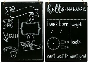 """Birth Announcement & Baby Progress 2 Pack Chalk Boards 10x14"""" FREE SHIPPING"""