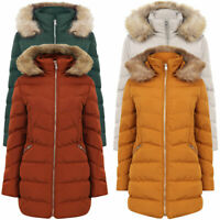 Tokyo Laundry Womens Jaboris Longline Quilted Hooded Coat Puffer Jacket Padded