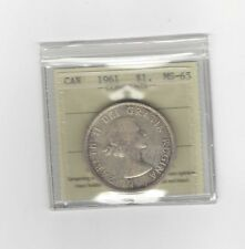 **1961**, ICCS Graded Canadian Silver Dollar **MS-65**